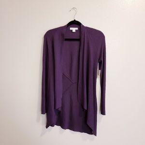 Coldwater creek purple ribbed cardigan sweater